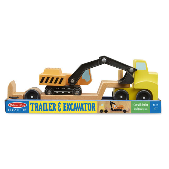 Trailer & Excavator Wood Play Set