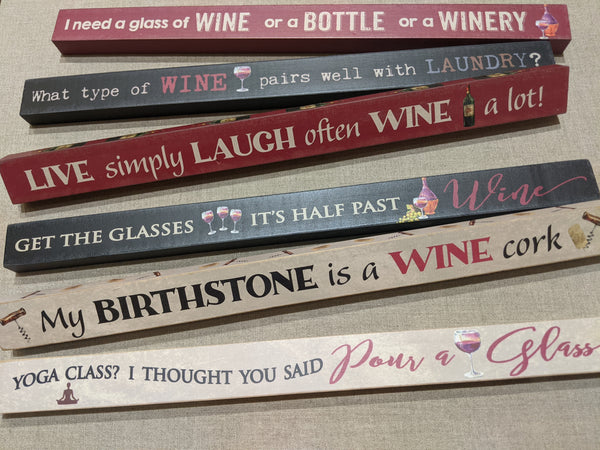 Wood Shelf Sitter - Wine Sayings - 6 Styles