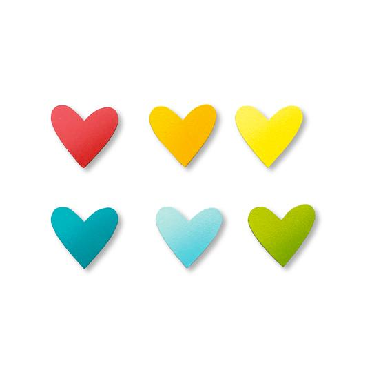 Magnet Hearts Rainbow Set of 6