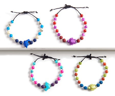 Lava Stone Kids Bracelet w/Lavender Essential Oil, 4 Assorted
