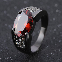 Load image into Gallery viewer, Hip-hop 14K Black Gold Ruby Obsidian Ring Party Wedding Sapphire pure Bizuteria for Women Men Unisex Rock Obsidian jewelry ring