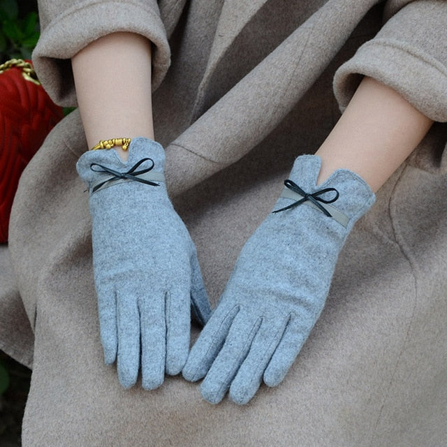 Fashion Elegant Female Wool Touch Screen Gloves Winter Women Warm Cashmere Full Finger Leather Gloves A29