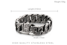 Load image into Gallery viewer, Men's Unique Carving Cuban Link Chain Stainless Steel Men Bracelets Bangle Fashion Jewelry