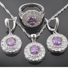 Load image into Gallery viewer, Luxury Party Jewelry Sets for Women  Natural Purple Crystals Pendants Necklace Earring Ring & Bracelet