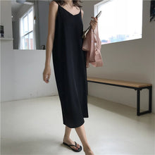 Load image into Gallery viewer, Women  V-neck Sling Long Black Party Dress