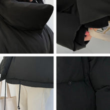 Load image into Gallery viewer, Winter Jacket Women Stand Collar Solid Black White Female Down Coat