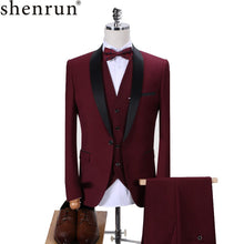 Load image into Gallery viewer, Fashion Suit Wedding Shawl Lapel 3 Pieces Skinny Single Breasted Jacket