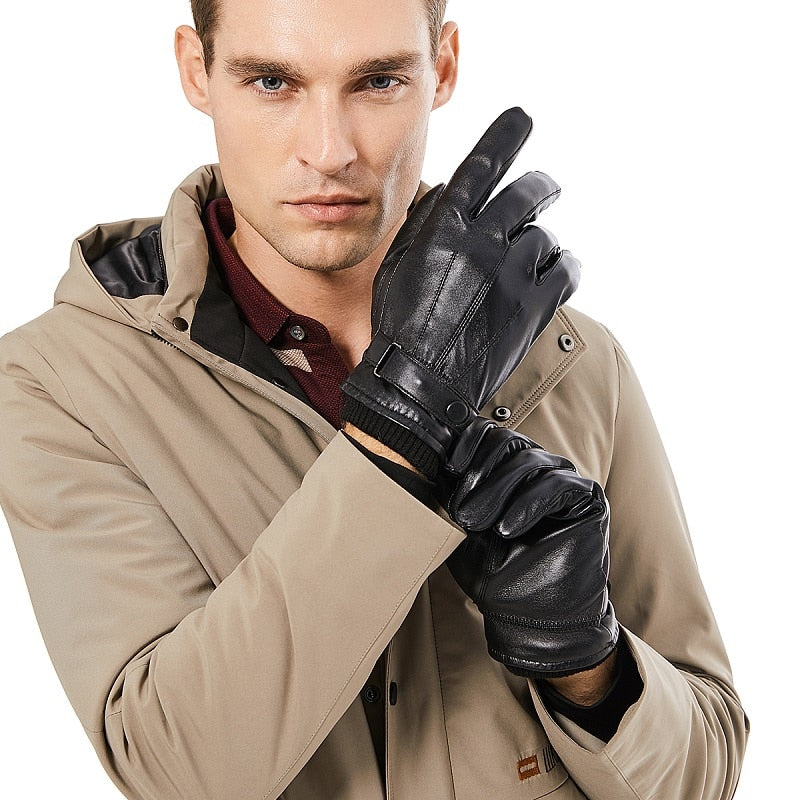 Men Genuine Sheepskin Leather Gloves