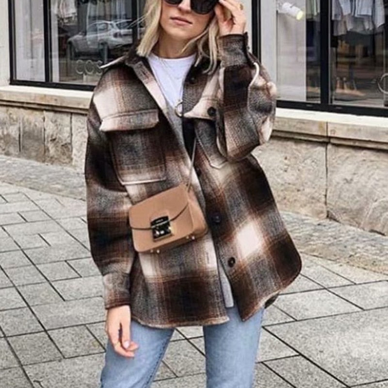 Thick Plaid Coat for Female