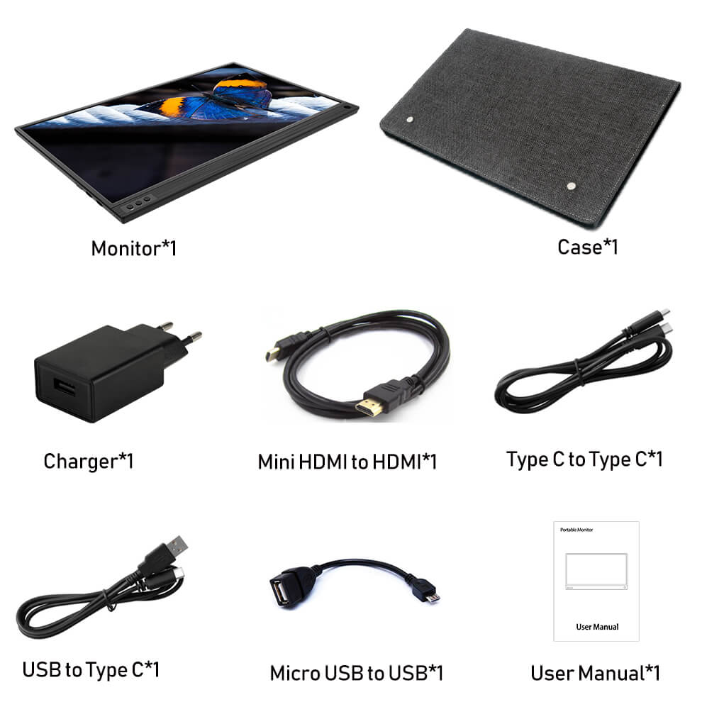 Portable lcd hd monitor 15.6 usb type c hdmi for laptop,phone,xbox,switch and ps4
