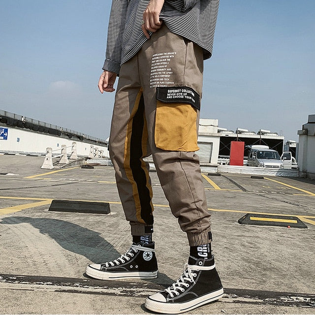 Men Cargo Pants Streetwear 2020 Hip Hop Casual Pockets Track Pants