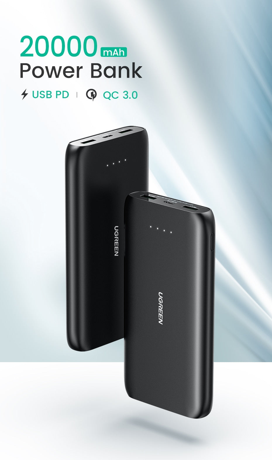 Power Bank 20000mAh Fast Phone Charger  External Battery