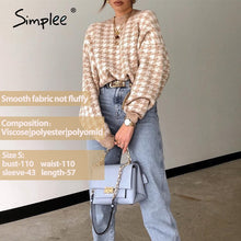 Load image into Gallery viewer, Simplee Women geometric khaki knitted sweater women casual Houndstooth lady pullover sweater female Autumn winter retro jumper