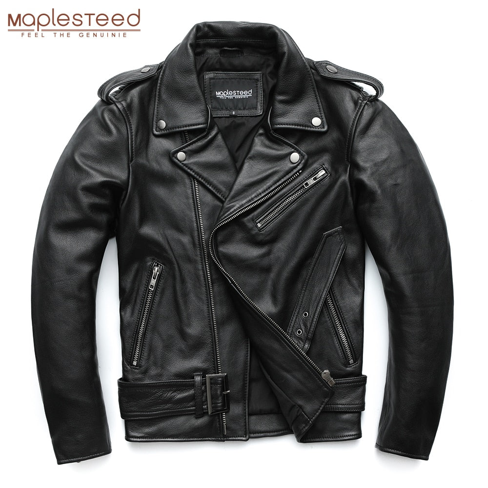 Classical Motorcycle Jackets Men Leather Jacket 100% Natural Calf Skin Winter