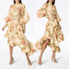 Load image into Gallery viewer, GetSpring Women Dress Long Flower Printed Party Dresses Puff Sleeve Ruffle Vintage Dress Bandage High Waist Long Dress