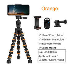 Load image into Gallery viewer, Tripod Stand for Phone with Mobile phone Holder Gopro Mount, Mini flexible Desk Tripod with Remote for SmartPhone/Camera/Tablet