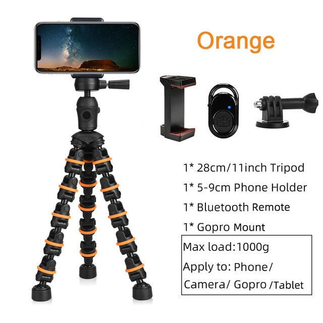 Tripod Stand for Phone with Mobile phone Holder Gopro Mount, Mini flexible Desk Tripod with Remote for SmartPhone/Camera/Tablet
