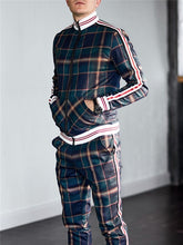 Load image into Gallery viewer, New Colorful Plaid Men Casual Zipper Stand-up collarr Sportswear 3D Print