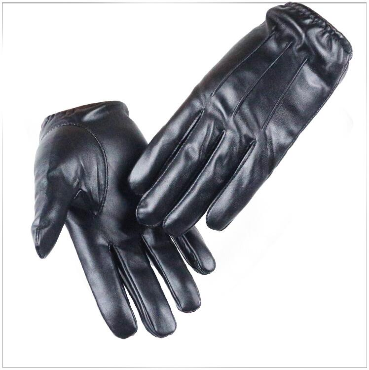 Driving Hot Men's Luxurious PU Leather Winter Autumn Driving Keep Warm Gloves