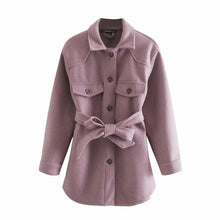 Load image into Gallery viewer, Womens  Belt Loose Woolen Jacket
