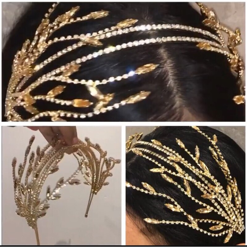 double Hairband Women Bridal Wedding Tiara Hair Accessories Crown Hairwear Jewelry