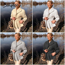 Load image into Gallery viewer, Winter coat with rhombus pattern women parkas Deep pockets