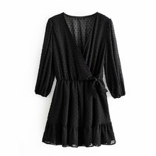 Load image into Gallery viewer, Women Ruffles Lace Chiffon Dress