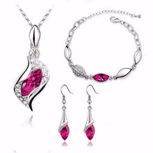 Load image into Gallery viewer, Wedding  Gold Silver Color Jewelry Sets  Necklace Earrings Bracelet