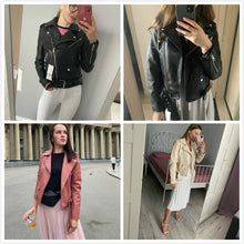 Load image into Gallery viewer, Women Faux Leather Jacket Ladies Solid With Belt Zipper Biker Coat