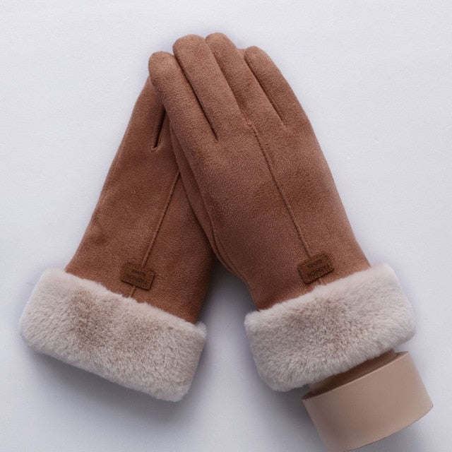 Women Touch Screen Suede Glove Winter Double Layer Furry Mittens Warm  Gloves
