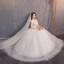 Load image into Gallery viewer, White Wedding Dresses Ball Gown Cap Sleeve O-neck Appliques Lace Up Elegant Wedding Gowns For Bride  2020