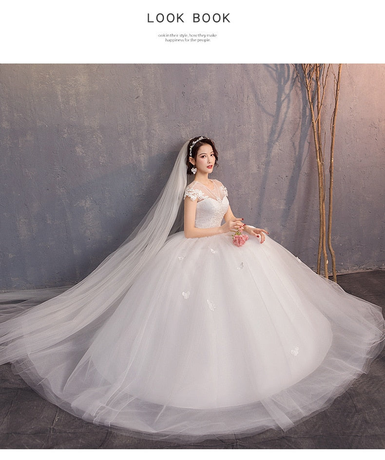 White Wedding Dresses Ball Gown Cap Sleeve O-neck Appliques Lace Up Elegant Wedding Gowns For Bride  2020