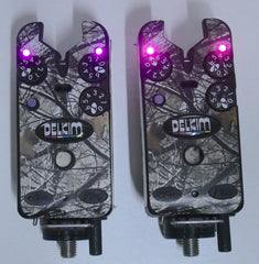 Delkim TXi Plus Bite Alarms Purple + Camo Skins + D-Locks X2