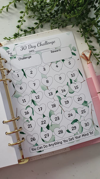 30 Day Challenge Planner Inserts - Wedding Green