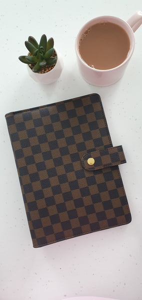 A5 Brown Check Planner Organiser Binder, COVER ONLY