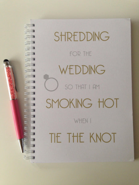 12 Week Food Diary - Spiral Bound or Inserts - Shredding for the Wedding