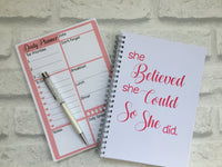 12 Week Food Diary Bundle with Daily Planner To Do Notepad - She Believed She Could
