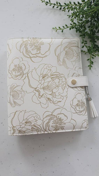 A5 Wedding Gold Planner Organiser Binder, COVER ONLY, Gold Floral