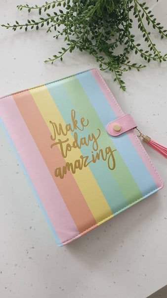 A5 Rainbow Planner Organiser Binder, COVER ONLY, Rainbow Cover