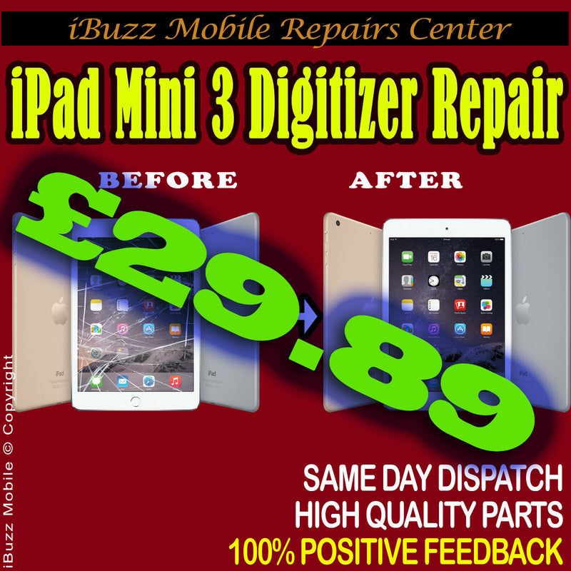 iPad Mini 3 Broken Top Glass Screen Lens Touch Replacement Service