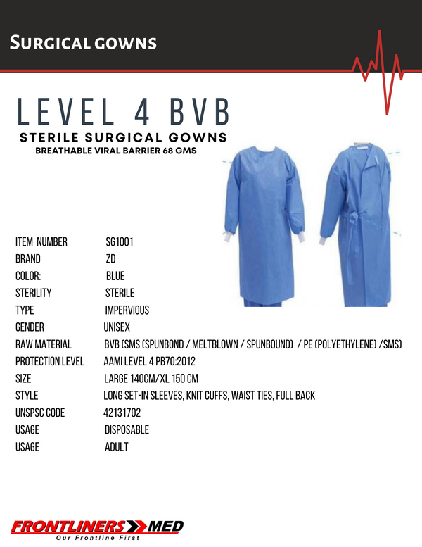 AAMI Level 4 Breathable Viral Barrier (BVB) Surgical Gown (26/CARTON)