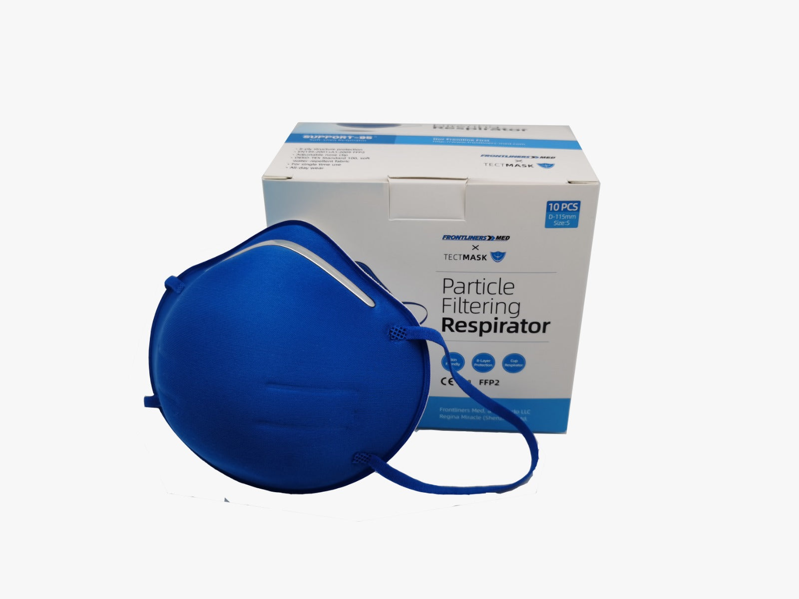 Support-95 Particulate Respirator, True Blue Color (10 masks/box) + 1 mask New from Frontliners Med