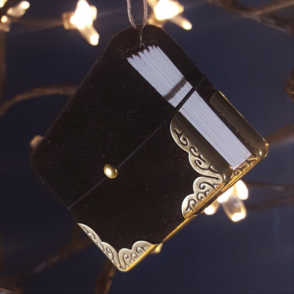 Black Suede Miniature Book Ornament