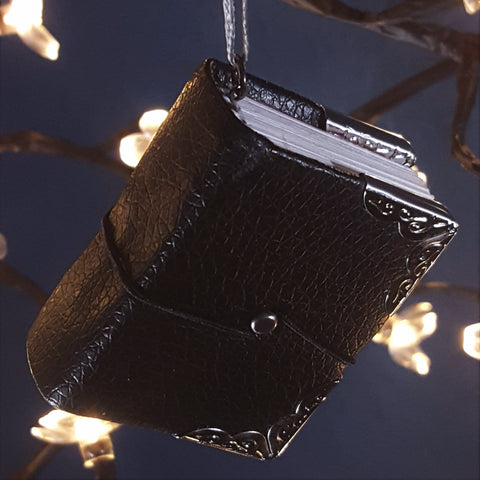 Faux Leather Miniature Book Ornament