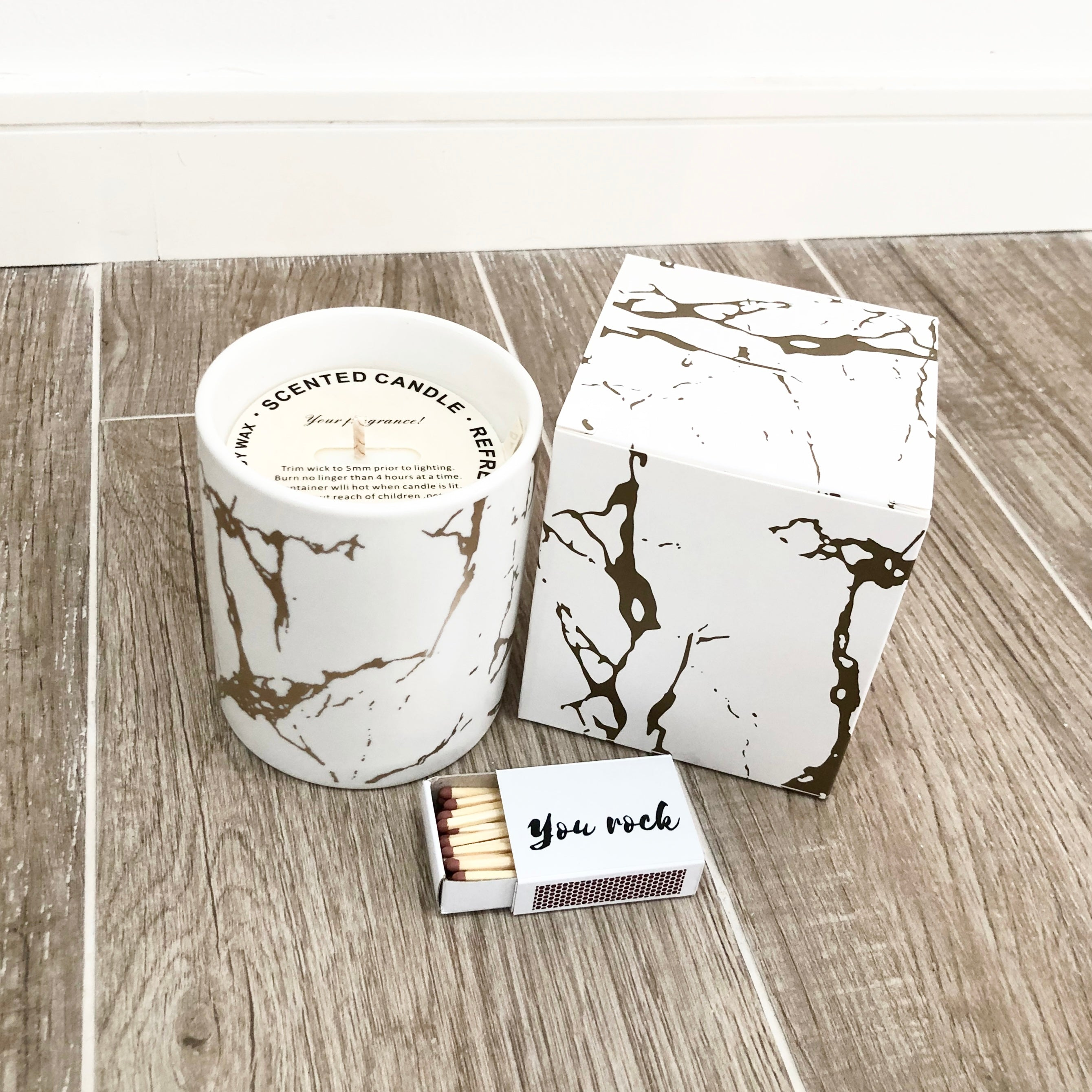 Deluxe Gold Ceramic Marble Candle