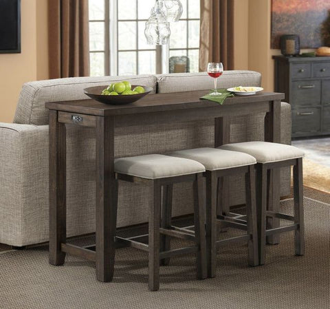 Stone Smokey Dark Ash 4 Piece Occasional Bar Table Set