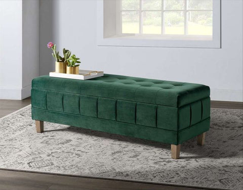 Crosby Evergreen Tufted Storage Ottoman