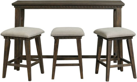 Morrison 4 Piece Smokey Walnut Multipurpose Bar Table Set