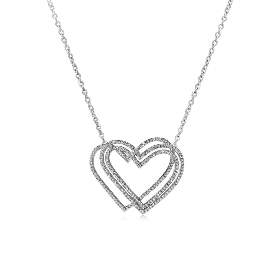 Triple Diamond Heart Pendant Necklace
