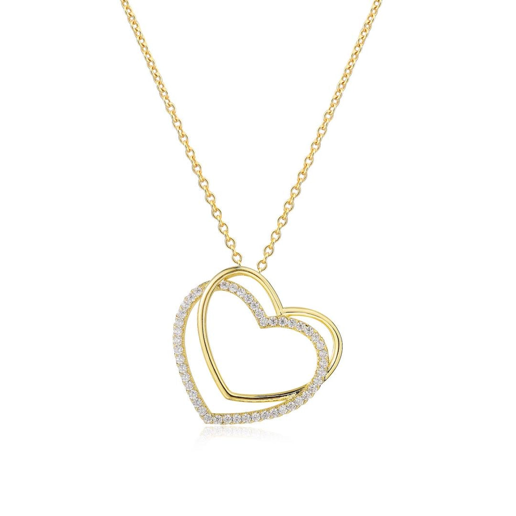 Gold and Silver Double Heart Pendant Necklace